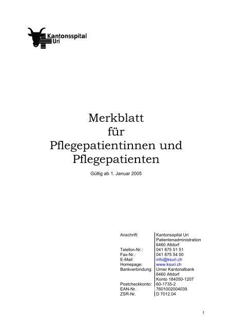 Merkblatt für Pflegepatientinnen und ... - Kantonsspital Uri