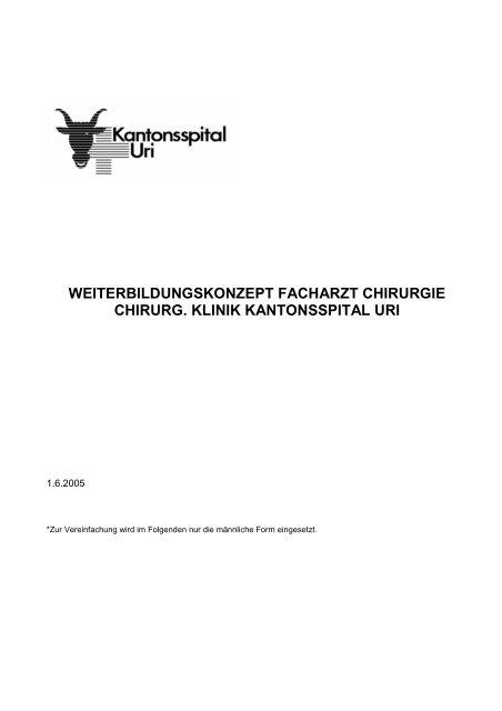 Weiterbildungskonzept Chirurgie - Kantonsspital Uri