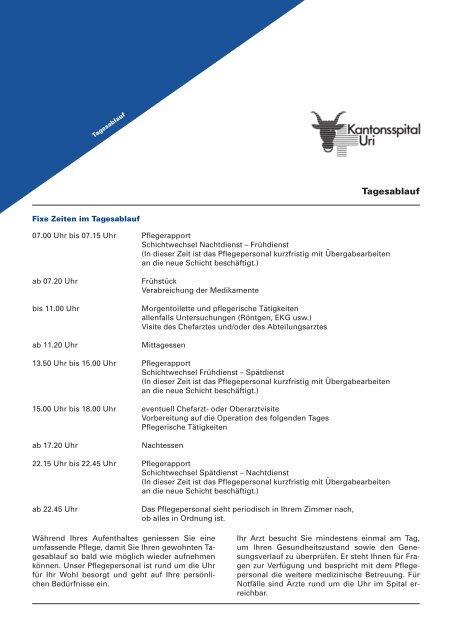 Tagesablauf - Kantonsspital Uri