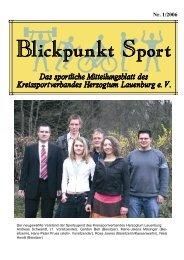 Blickpunkt Sport 1-2006 - Kreissportverband Herzogtum Lauenburg