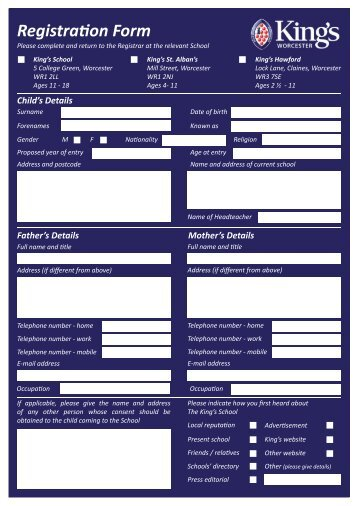 Registration Form.indd - The King's School