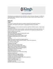 Year 5 Curriculum - The King's School