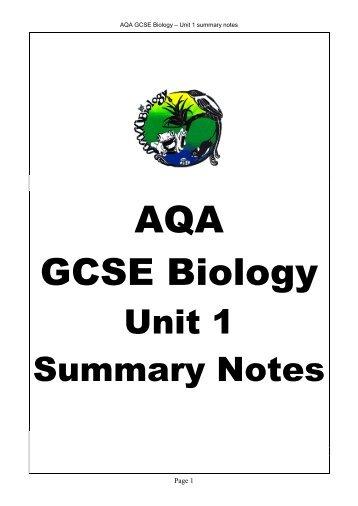 AQA GCSE Biology – Unit 1 Summary Notes