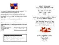 KING'S HAWFORD HALF TERM HOLIDAY ... - The King's School