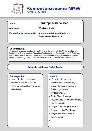Christoph Melsheimer - Fortbildung NRW