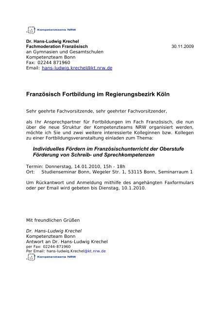Franzãsisch Fortbildung Im Regierungsbezirk Kãln Fortbildung Nrw