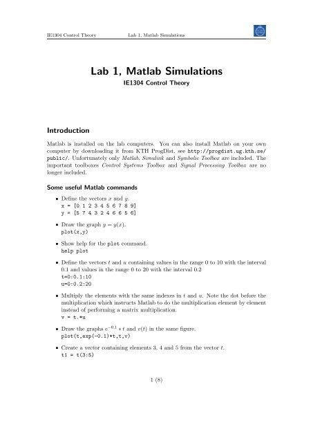 Lab 1, Matlab Simulations - KTH