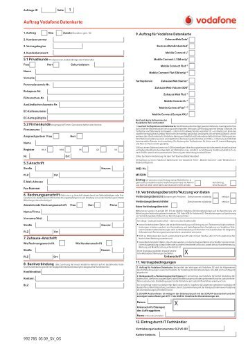 Auftrag Vodafone Datenkarte - KTK-Consulting