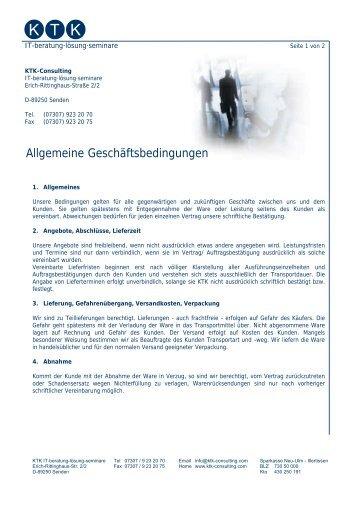 Allgemeine Geschäftsbedingungen (Fa. Klaus the ... - KTK-Consulting