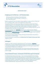Einladung zum 13. KTQ-Forum – mit Frühbucherrabatt KTQ-Award ...