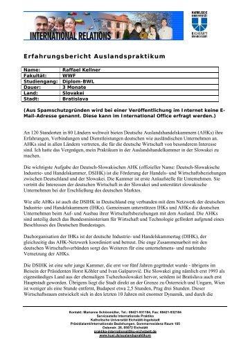 Erfahrungsbericht Auslandspraktikum - Katholische Universität ...