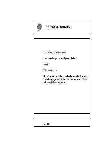 cirkulære om aftale om lønnede ph.d.-stipendiater