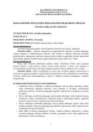 IV kursas 8 semestras Baigiamoji socialinė pedagoginė praktika