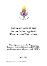 Political violence and intimidation against Teachers in Zimbabwe