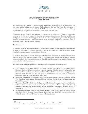 Analysis of State Affairs Zanu - AfricaNews.com