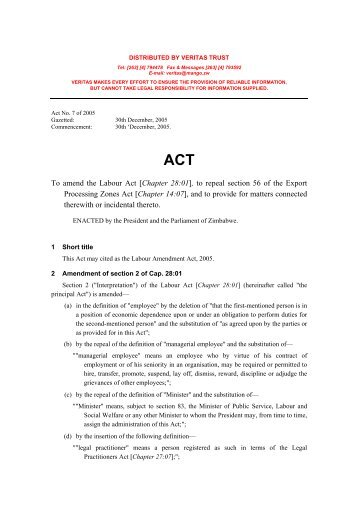 Labour Amendment Act 2005 - Act No 7 of 2005 - Kubatana