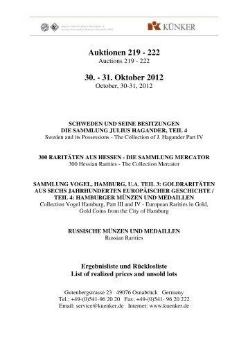 Auktionen 219 - 222 30. - 31. Oktober 2012 - Fritz Rudolf Künker