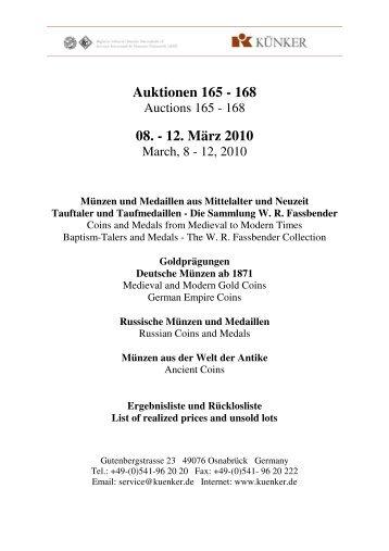 Auktionen 165 - 168 08. - 12. März 2010 - Fritz Rudolf Künker