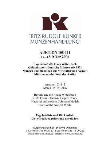 AUKTION 108-111 14.-18. März 2006 - Fritz Rudolf Künker