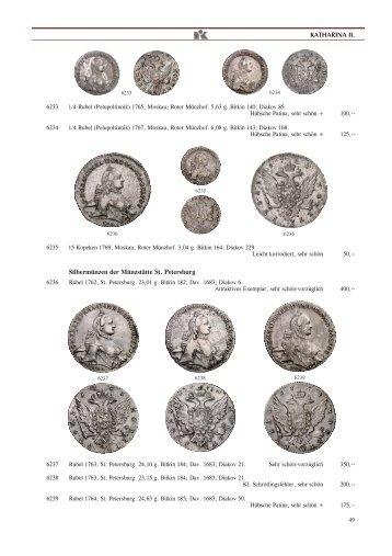 KATHARINA II. Silbermünzen der Münzst·tte St. Petersburg