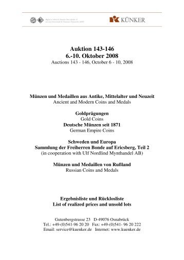 Auktion 143-146 6.-10. Oktober 2008 - Fritz Rudolf Künker