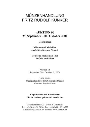 AUKTION 96 29. September – 01. Oktober 2004 Goldmünzen ...