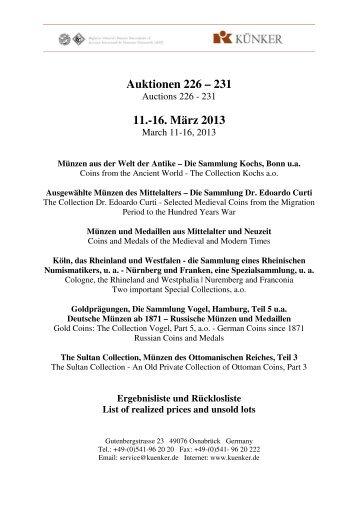 Auktionen 226 – 231 11.-16. März 2013 - Fritz Rudolf Künker