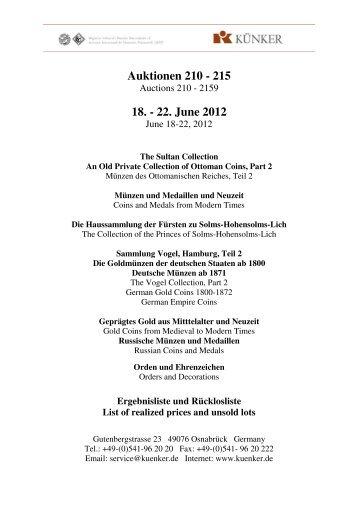 Auktionen 210 - 215 18. - 22. June 2012 - Fritz Rudolf Künker