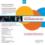 PAULA-MAURER-PREIS 2010 - KUF - Amt für Kultur und Freizeit