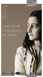 Anne Frank in Nürnberg - KUF - Amt für Kultur und Freizeit