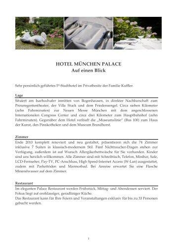 HOTEL MÜNCHEN PALACE Auf Einen Blick - Kuffler Gastronomie ...