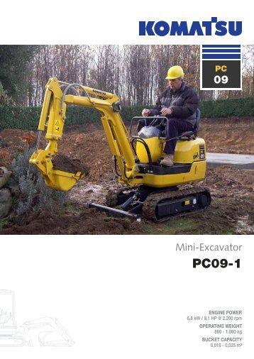 to download brochure of Mini Excavator PC09-1 - komatsu europe