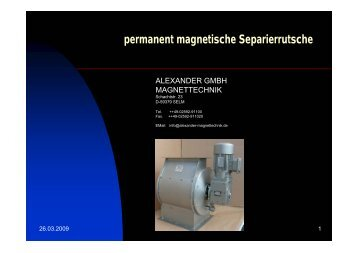 permanent magnetische Separierrutsche - Alexander Magnettechnik