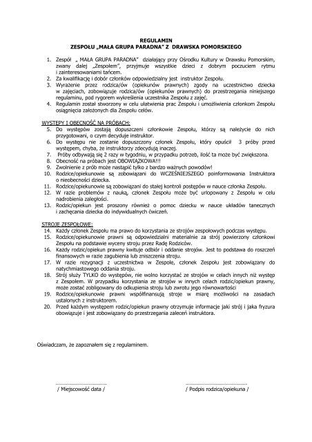 MAŁA GRUPA PARADNA - Ośrodek Kultury w Drawsku Pomorskim