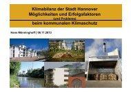Klimabilanz der Stadt Hannover Möglichkeiten und Erfolgsfaktoren ...
