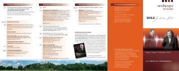Theater I Literatur I Philosophie I Musik 5. 6. 7. Oktober ... - Neubeuern