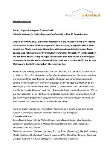 "Presseinformation Erster ""Jugendkulturpreis Talente 2009 ..."