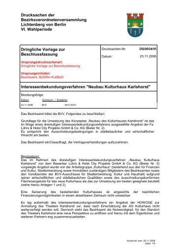 Drucksachen der Bezirksverordnetenversammlung Lichtenberg von ...