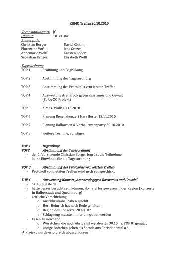 KUMO Treffen 20.10.2010 Veranstaltungsort: JG Uhrzeit: 18.30 Uhr ...