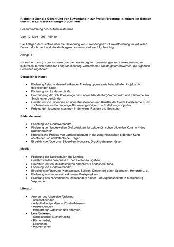 Richtlinie über die Gewährung von Zuwendungen zur ... - Kulturportal