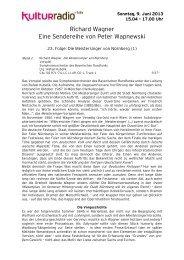 23. Folge: Die Meistersinger von Nürnberg - Kulturradio
