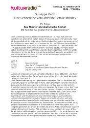 Das Theater als idealistische Anstalt - Kulturradio