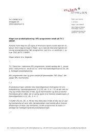 TV 2 SPORT A/S Jenagade 22 2300 København S ... - Kulturstyrelsen