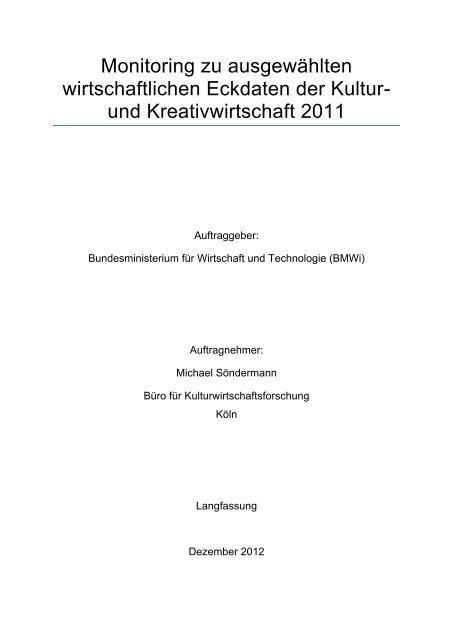 und Kreativwirtschaft 2011 - Bundesarchitektenkammer eV