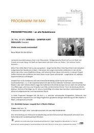 PROGRAMM IM MAI - Kulturzentrum Messestadt