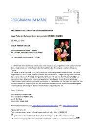 PROGRAMM IM MÄRZ - Kulturzentrum Messestadt