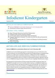 Infodienst Kindergarten, Ausgabe 6, September ... - Zum Kultusportal