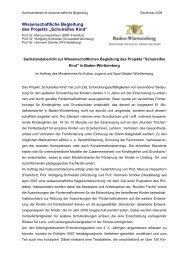 Sachstandsbericht zur Wissenschaflichen Begleitung von Prof ...