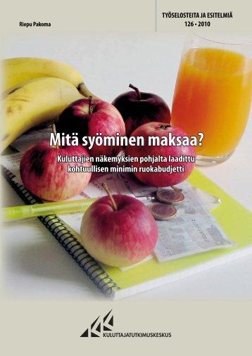 Mitä syöminen maksaa? - Kuluttajatutkimuskeskus