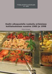 Kodin ulkopuolella ruokailu erilaisissa kotitalouksissa vuosina 1985 ja